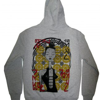 Arcadian grey hoodie by Disorder, a sustainably printed, ethically made garment in UK. The original artwork is from a painting by Disorder.