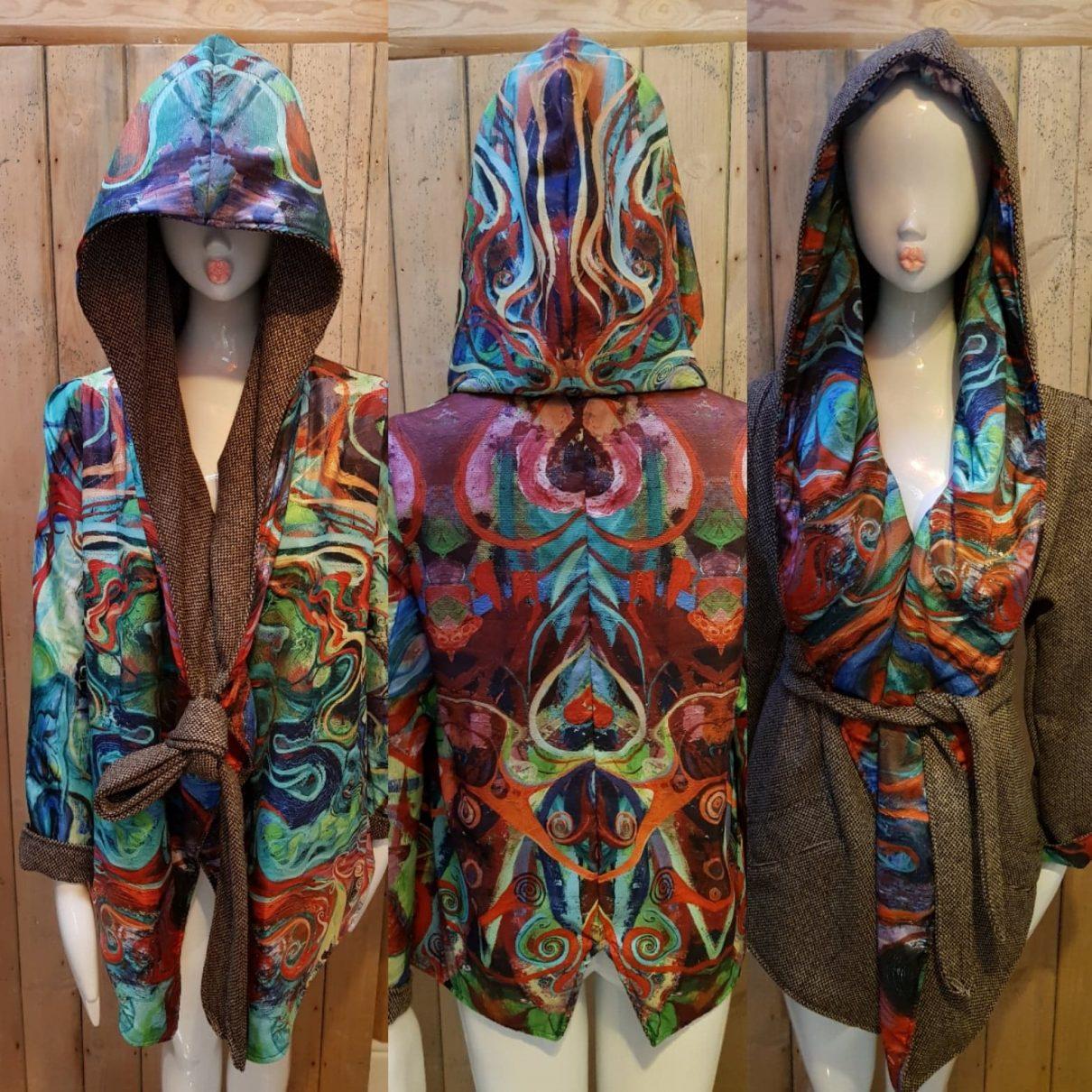 Spiral Reversible Hooded Kimono wrap coat