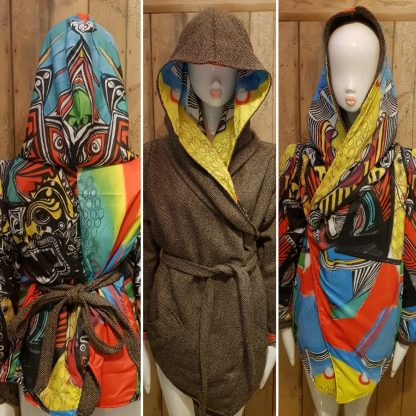 Temple Guardian reversible hooded kimono wrap coat by Disorder.