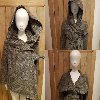 Tweed reversible hooded coat by Disorder. Versitile, unique, one off, sustainable and ethically handmade in England by Disorder in the UK.