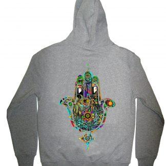 rainbow hand grey hoodie