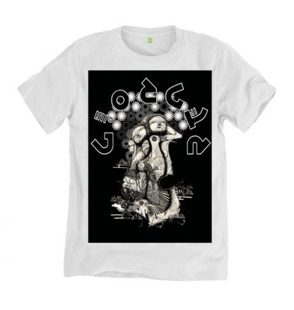 Soulmates white T shirt, is a limited edition print from an original sketch by Disorder. This garment is sustainably, ethically made in the UK