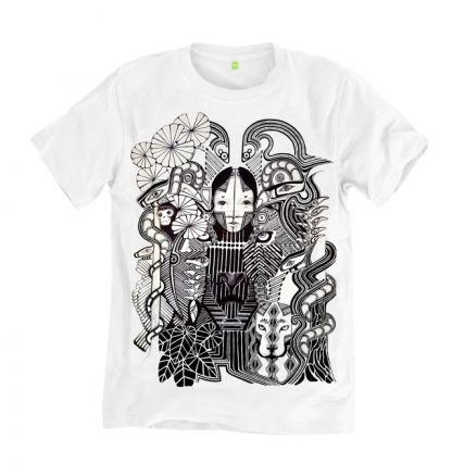 Amazon Rainforest T shirt, limited edition print from an original drawing by Disorder. This garment is sustainable and ethically made in UK