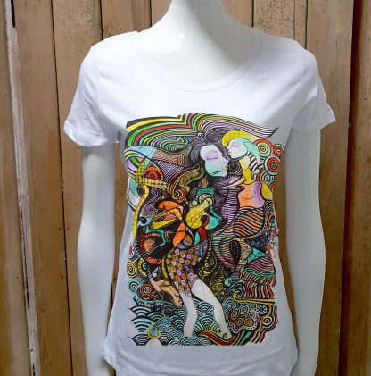 Disorder Hand-painted Spiral T-shirt for women, hand painted from an original sketch by Disorder. It's sustainable and ethically made in UK