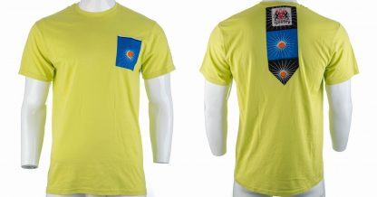 Bali by Disorder lime-yellow Zen t shirt with blue patch. This t shirt is sustainably handmade by Disorder in our Birmingham Studio.