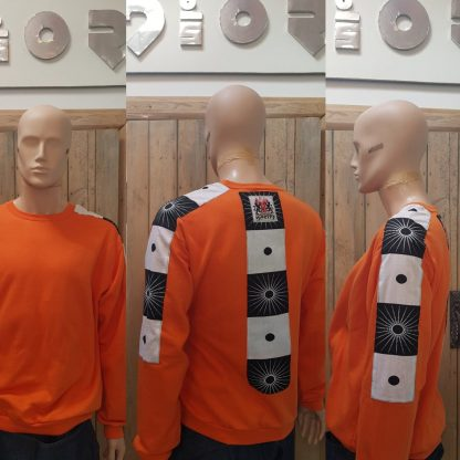 The Orange Zen Sweatshirt is sustainably handmade by Disorder in our Birmingham Studio.