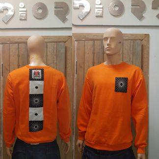 The Orange Zen pocket Sweatshirt is sustainably handmade by Disorder in our Birmingham Studio.