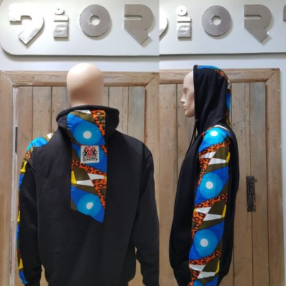 The Disorder Zen blue circle Hoodie is a one-off slow fashion, sustainable garment. We hand tailored this hoody to order in our Birmingham, UK micro factory.