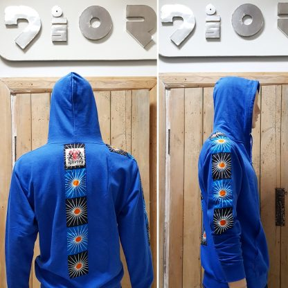 Disorder Zen Azure Hoodie is a one-off, unique, slow fashion, sustainable garment. Hand-tailored to order in our Birmingham, UK