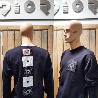 Disorder black Zen sweatshirt is a one-off slow fashion, sustainable garment. We hand tailored this garment to order in our Birmingham, UK micro factory.