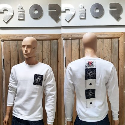 The Disorder White Zen Sweatshirt is a slow fashion, sustainably handmade garment by Disorder, in our Birmingham, UK, based Studio.