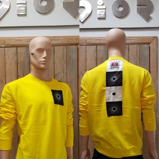Acid Yellow Zen pocket sweatshirt by Disorder is a one-off slow fashion, sustainable garment, ethically hand tailored in the UK.