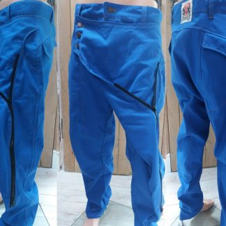 Blue Canvas Samurai Trousers by Disorder. We handcraft these limited edition, sustainable Samurai trousers, in our Birmingham, UK studio.