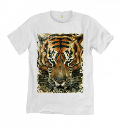 The Burmese Tiger Painting White T-Shirt, is a print of an original painting by Disorder, on an ethically and sustainably made tshirt in UK.
