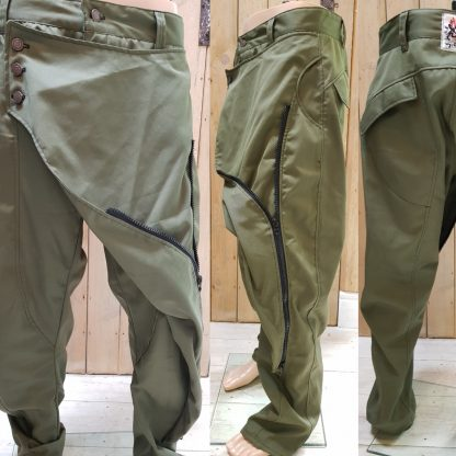 Green Canvas Samurai Trouser by Disorder, handcraft these limited edition Samurai trousers, in our Birmingham, UK studio.