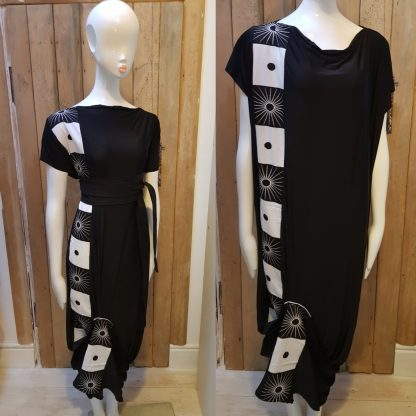Disorder Black Zen Dress, with black/white African fabric detail. A unique, slow fashion dress, hand tailored in our Birmingham micro factory.