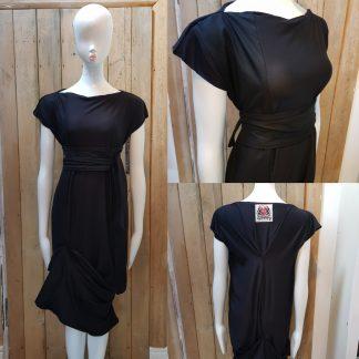 Disorder Black Zen Dress, with black/white African fabric detail, unique, slow fashion dress, handmade in Birmingham, UK based studio