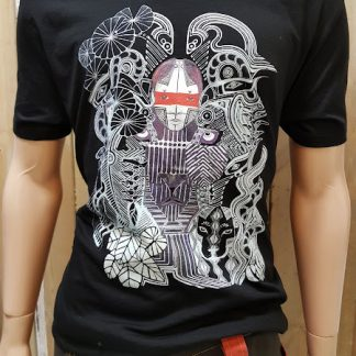 Amazonia Black T-Shirt by Disorder a limited edition print of an original drawing, it is sustainable and ethically hand made in UK