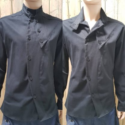 Black Slant Shirt/Jacket by Disorder is sustainably and ethically hand crafted by our team of skilled tailors, in our Birmingham, UK studio.